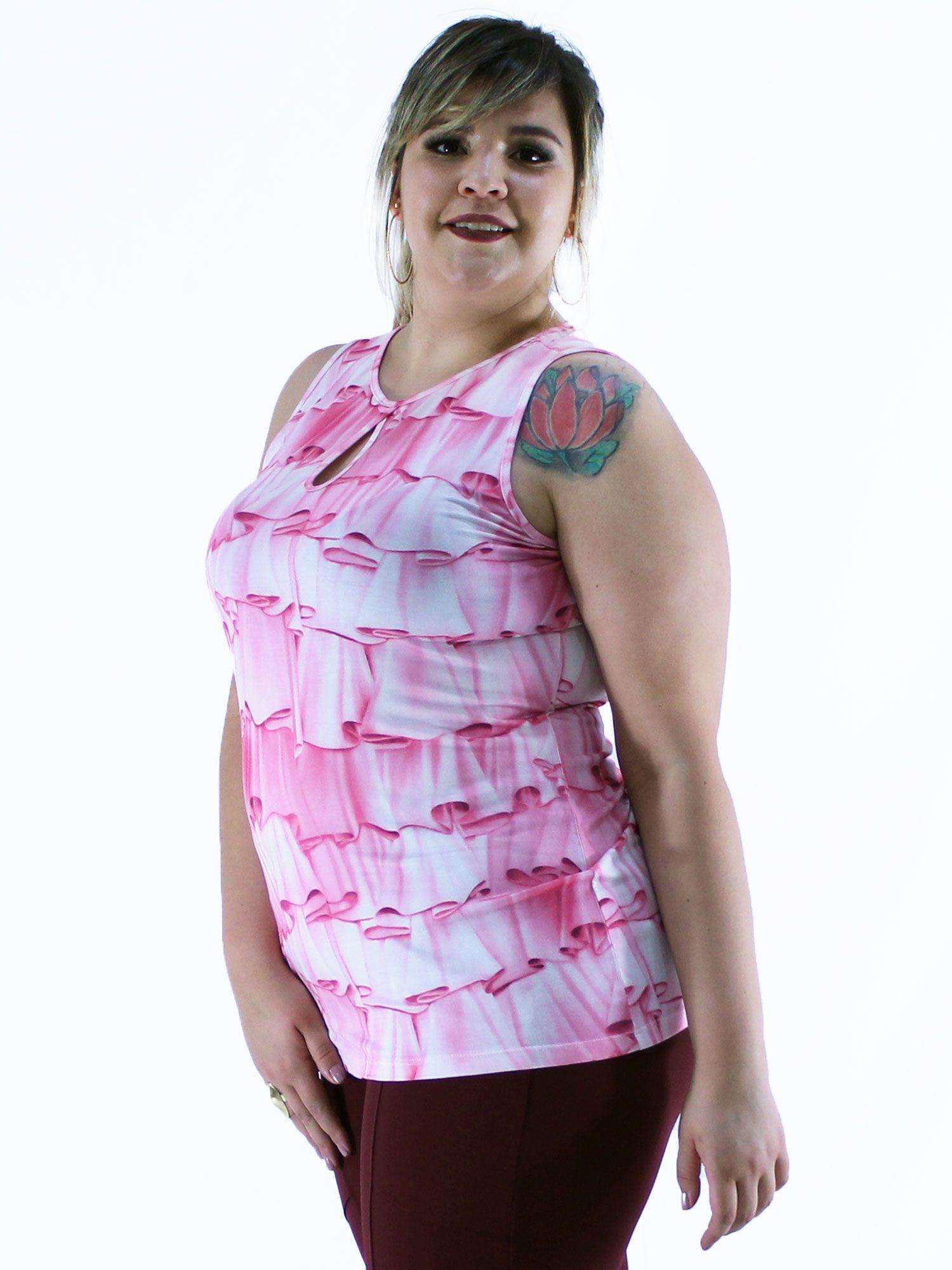 Regata Plus Size KTS Estampada Rosa