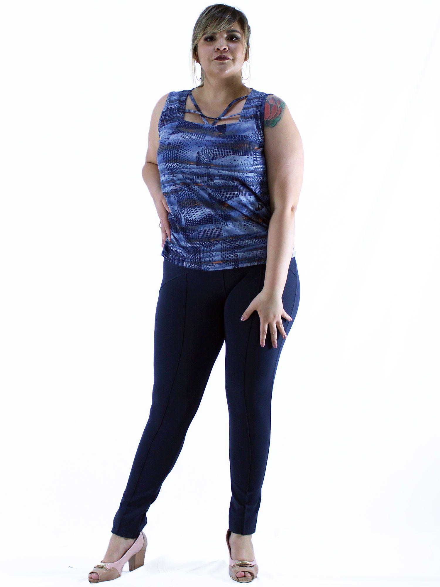 Regata Plus Size KTS Femme Estampada Azul