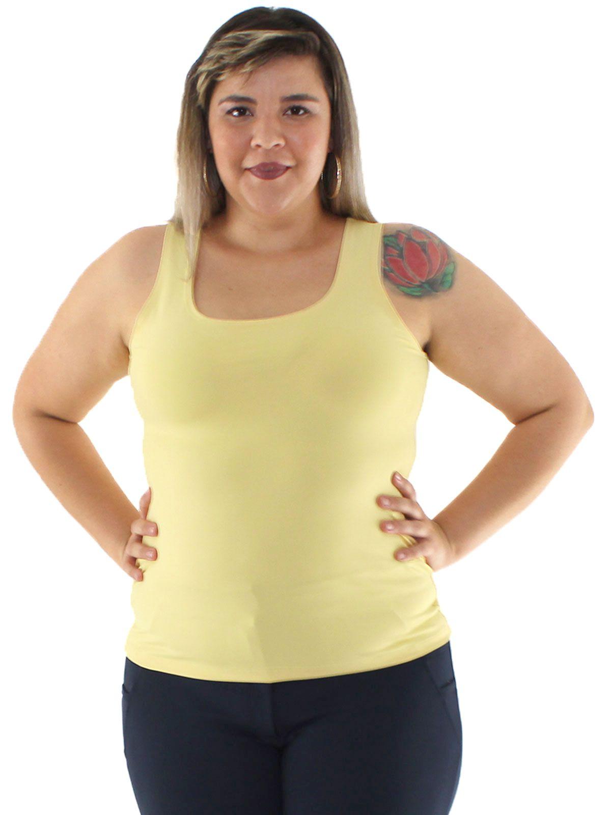 Regata Plus Size Feminina Lisa Fitness De Poliamida Amarelo