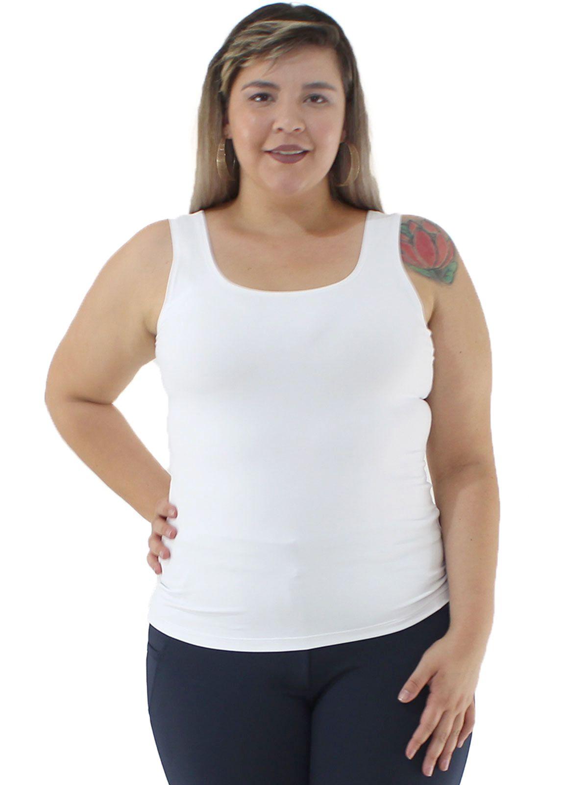 Regata Plus Size KTS Lisa de Poliamida Branca