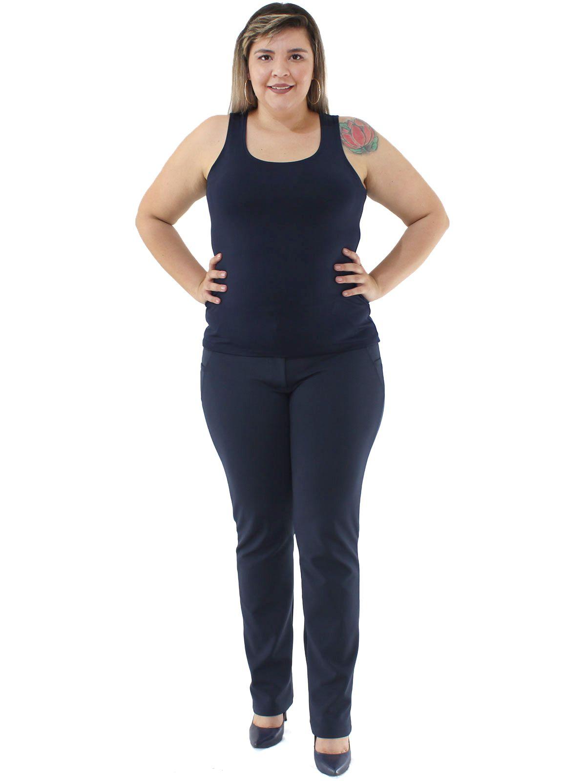 Regata Plus Size Feminina Lisa Fitness De Poliamida Azul Marinho