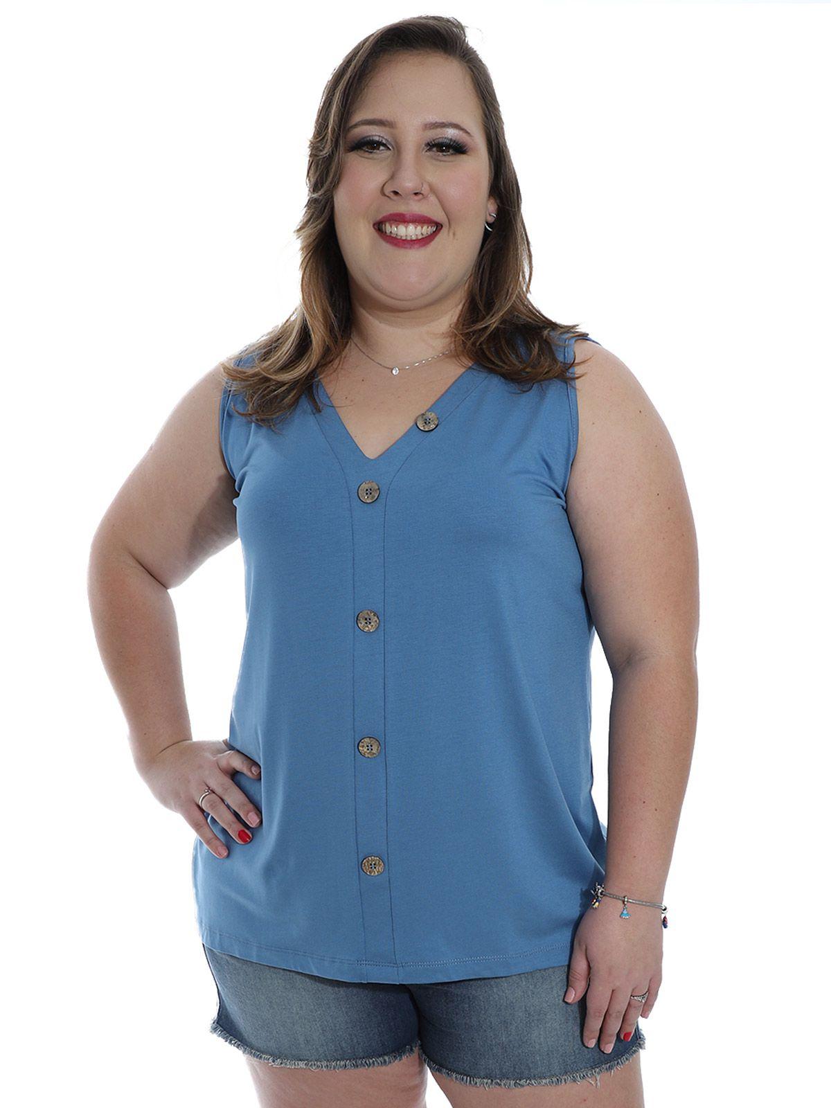Regata Plus Size KTS Viscolycra com Botões Azul