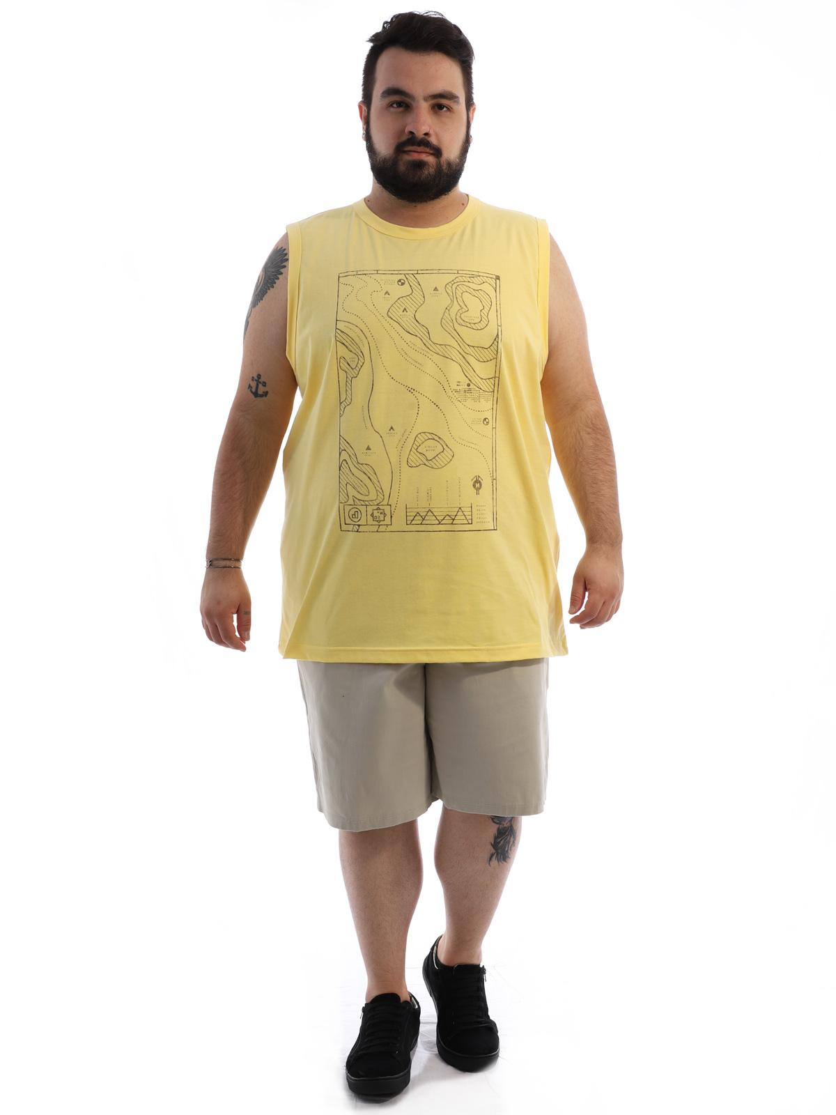 Regata Plus Size Masculina Algodão Estampada Geo Amarelo