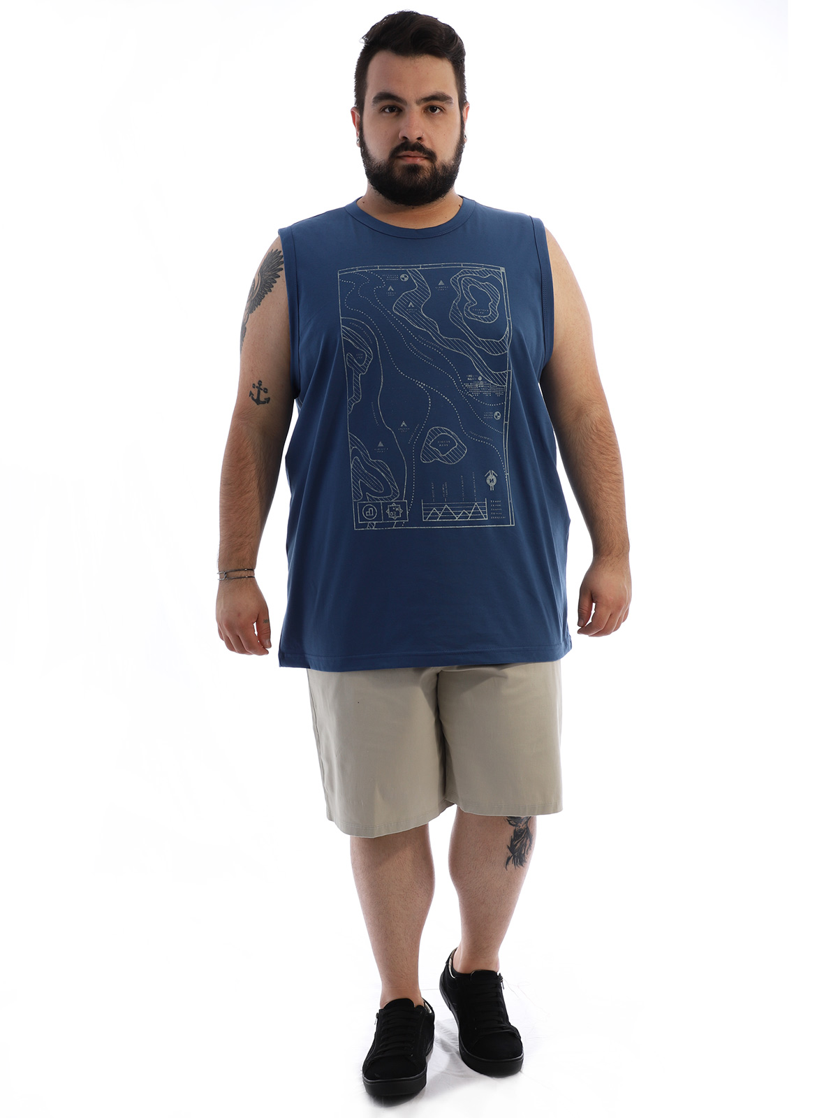 Regata Plus Size Masculina Algodão Estampada Geo Jeans