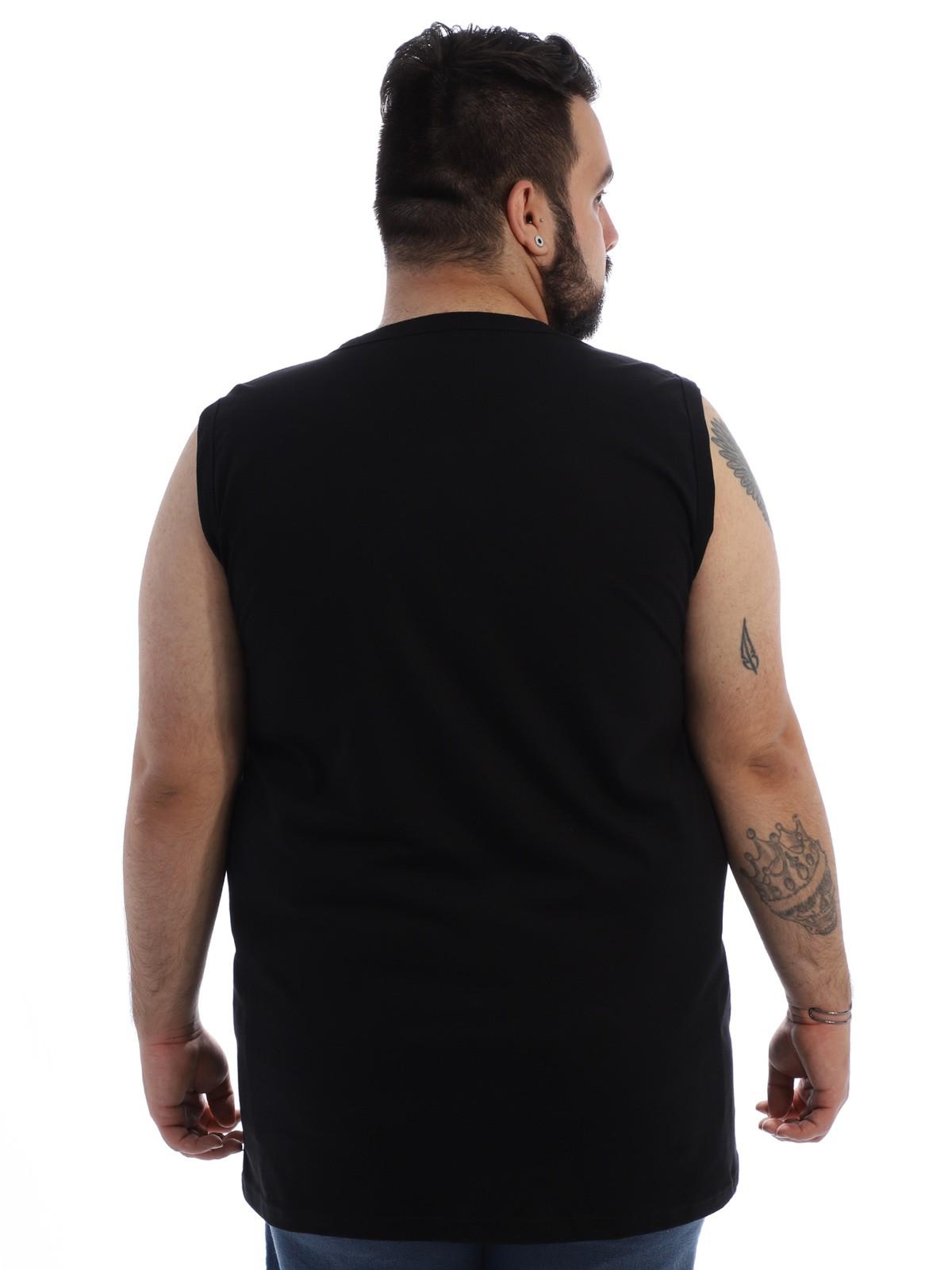 Regata Plus Size Masculina Algodão Estampada Lata Preta