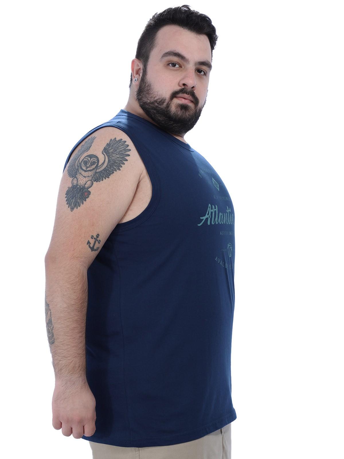 Regata Plus Size Masculina Machão Atlantic Anistia Azul Marinho