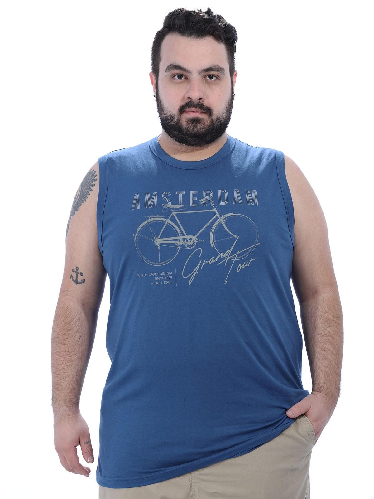 Regata Plus Size Masculina Machão Bicicleta Anistia Azul Jeans