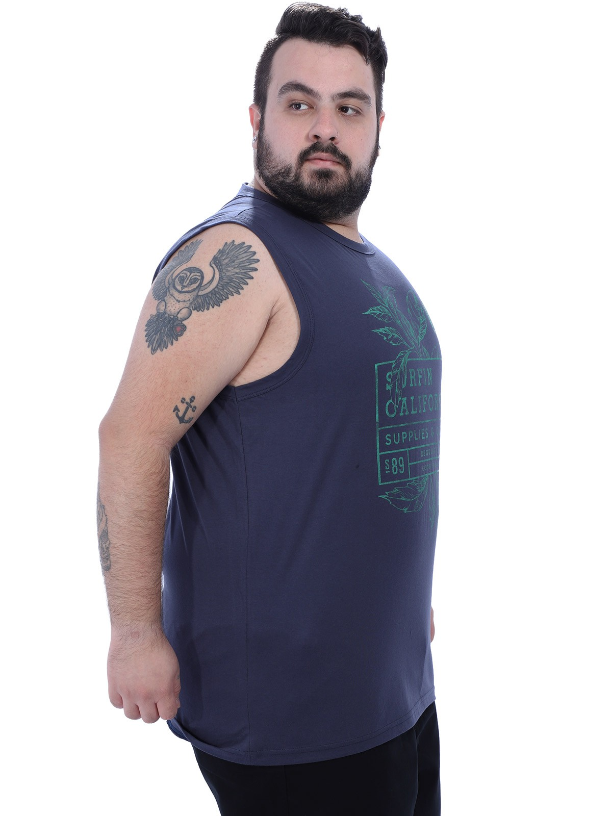 Regata Plus Size Masculina Machão California Anistia Grafite