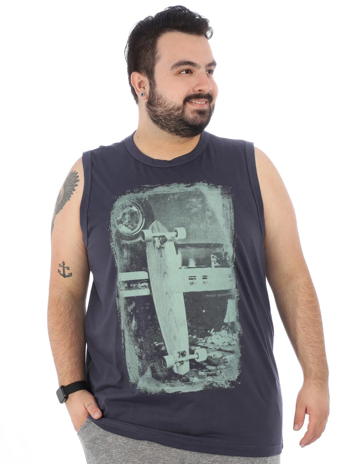 Regata Plus Size Masculina Machão Estampada Skate Grafite