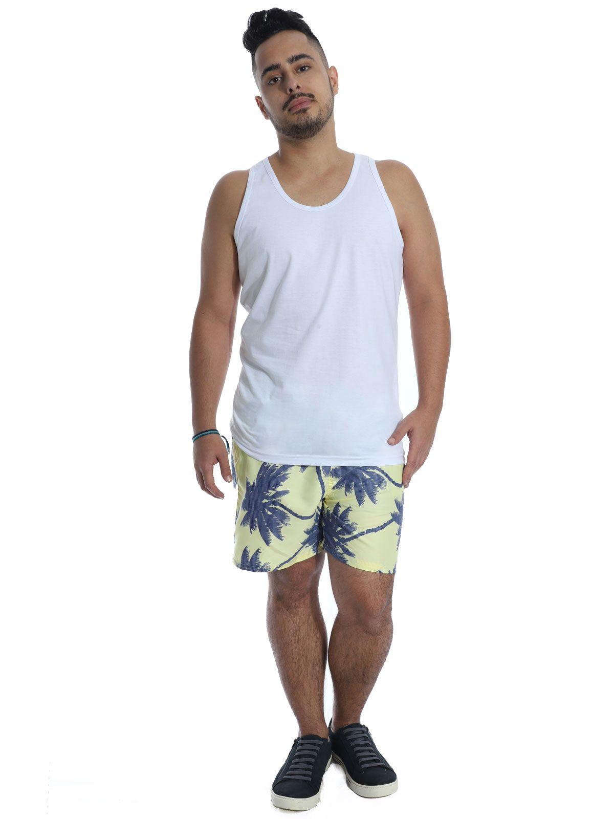 Short Masculino Anistia Coqueiro Bolso Traseiro Embutido Amarelo
