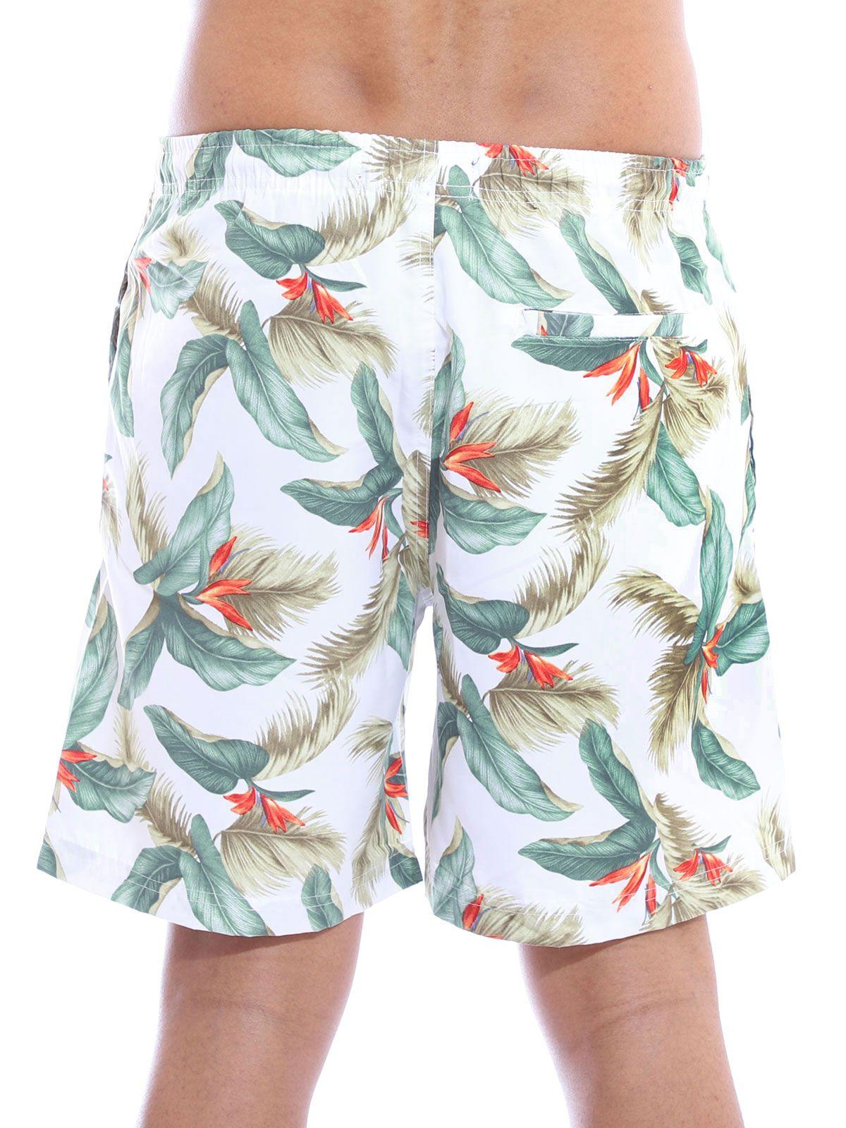 Short Masculino Anistia Floral Bolso Traseiro Embutido Branco
