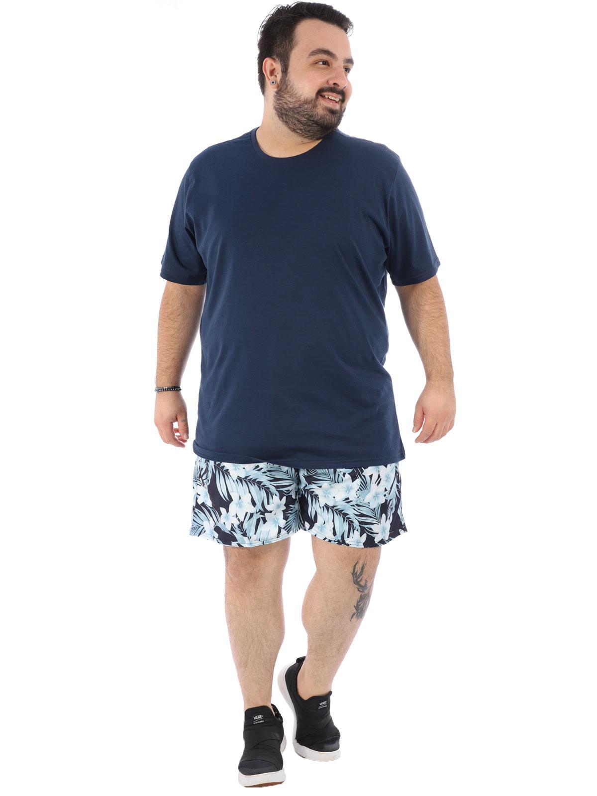 Short Plus Size Masculino Estampa de Folhas Anistia Marinho