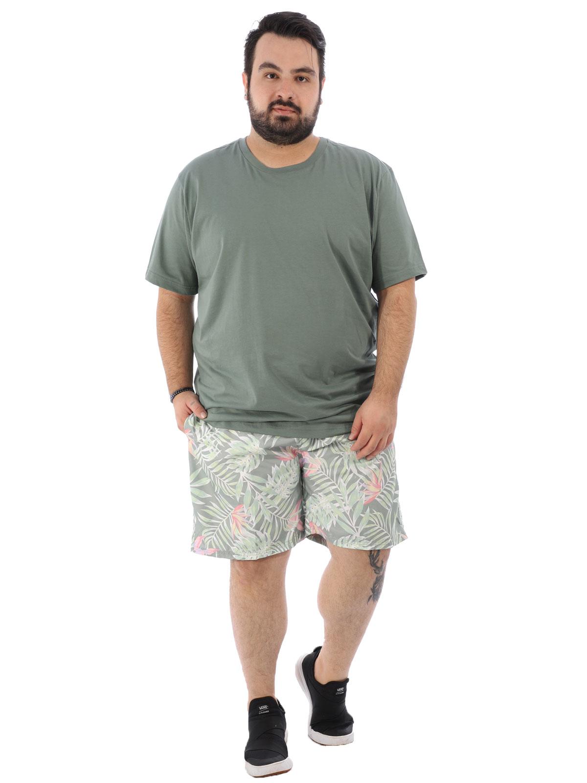 Short Plus Size Masculino Estampa De Folhas com Bolsos Verde