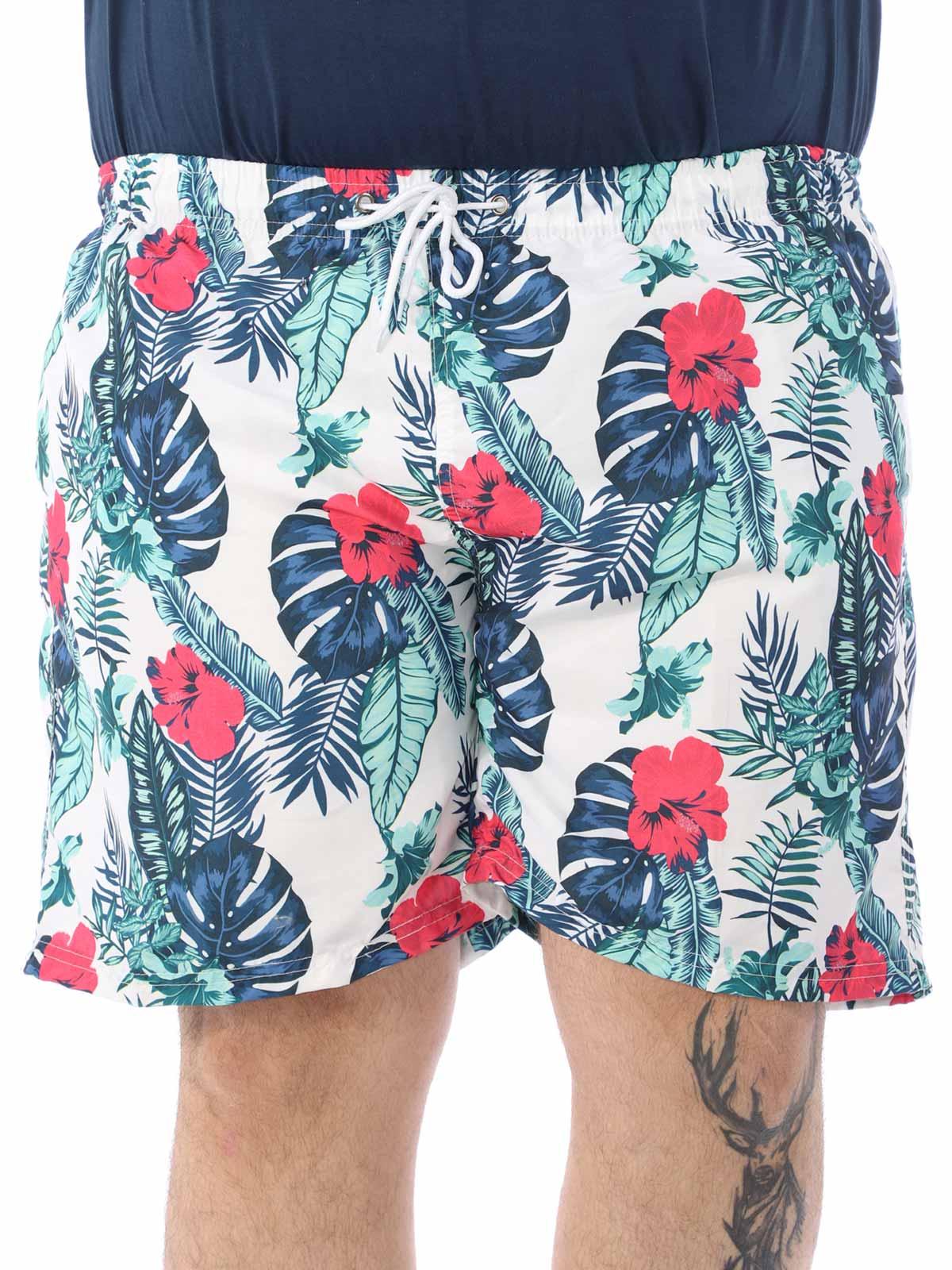 Short Plus Size Masculino Estampa Floral Microtel Branco