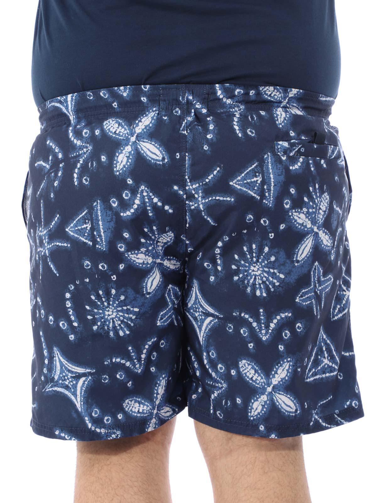 Short Plus Size Masculino Estampado de Elástico Azul