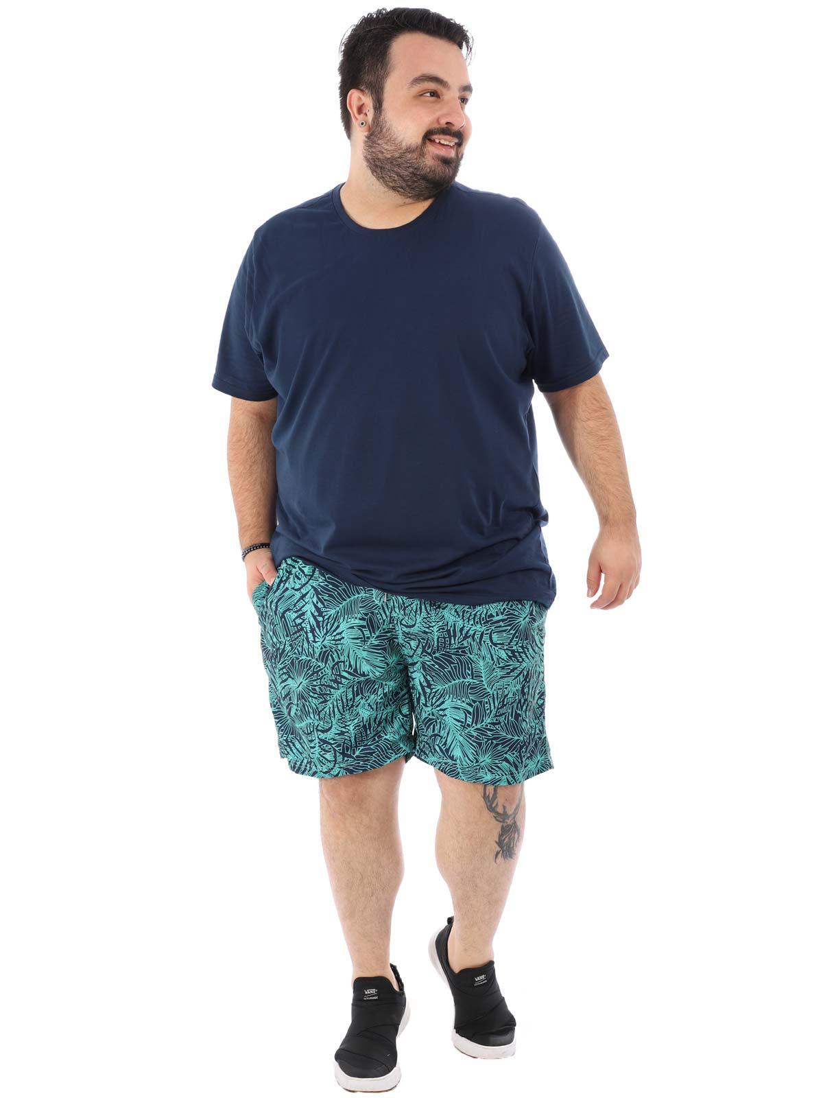 Short Plus Size Masculino Estampado de Folhagens Marinho
