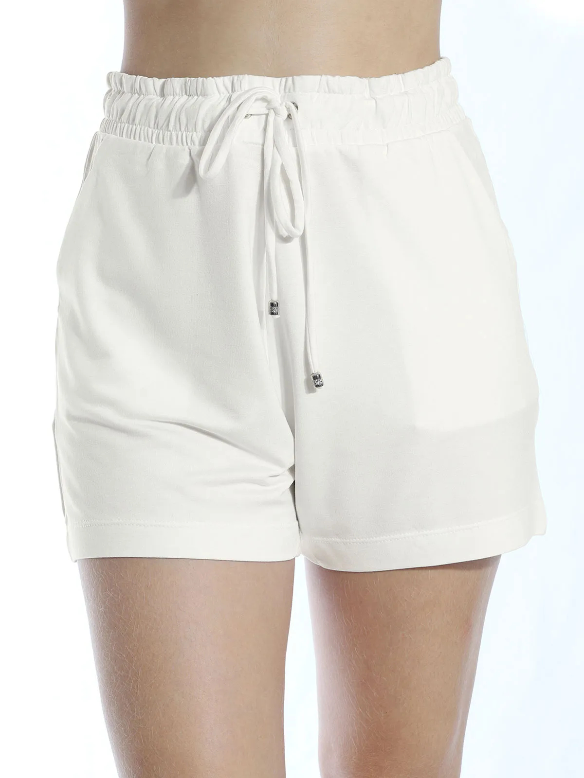 Shorts De Moletinho Com Lycra Liso Anistia Off White