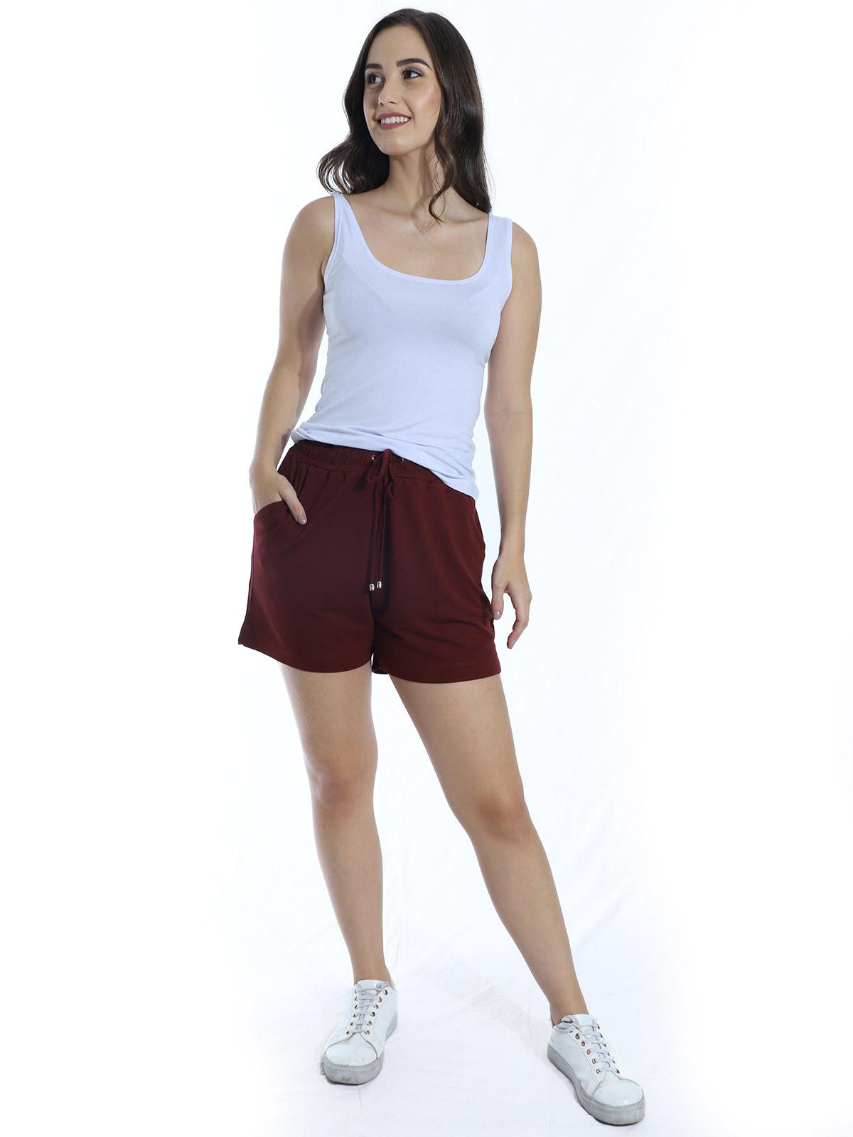 Shorts Feminino Moletinho Com Lycra Liso Soltinho Bordo