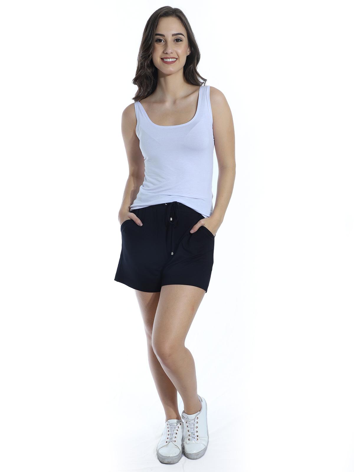 Shorts Feminino Moletinho Com Lycra Liso Soltinho Preto