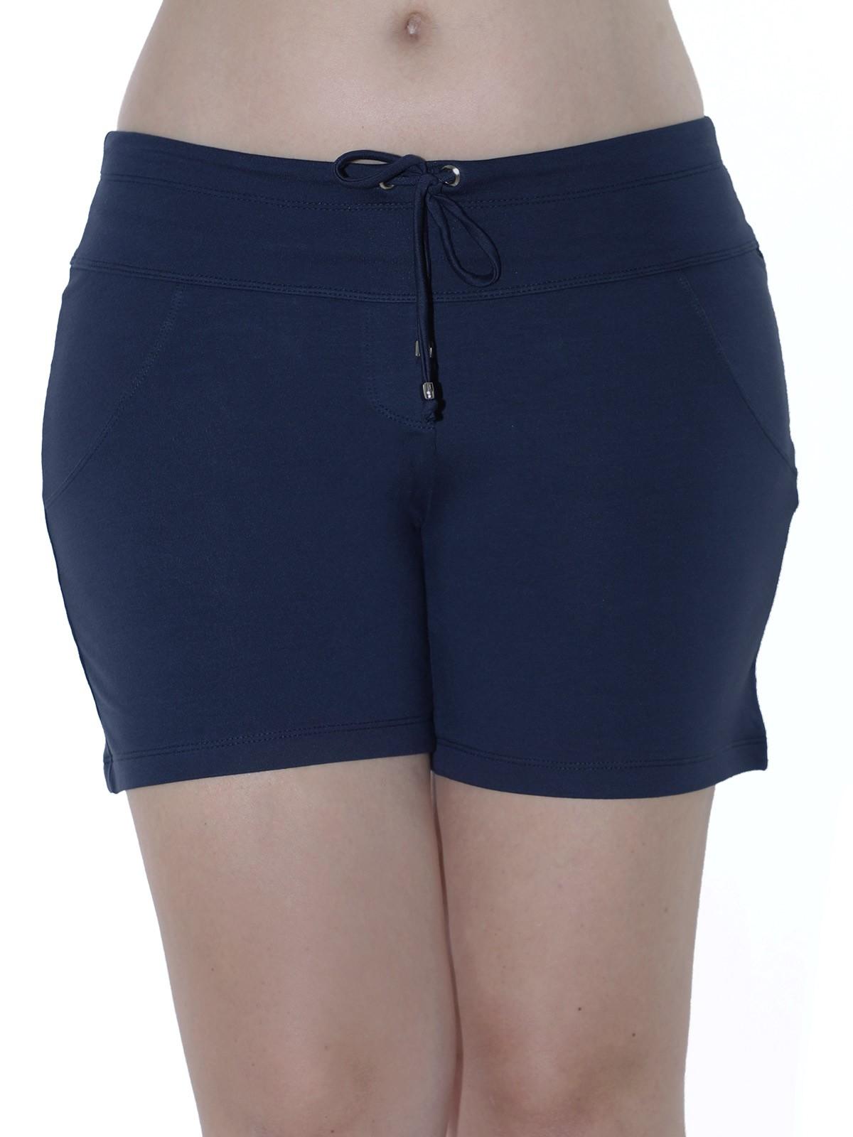 Shorts Feminino Moletinho Liso Com Lycra Confortável Azul Marinho