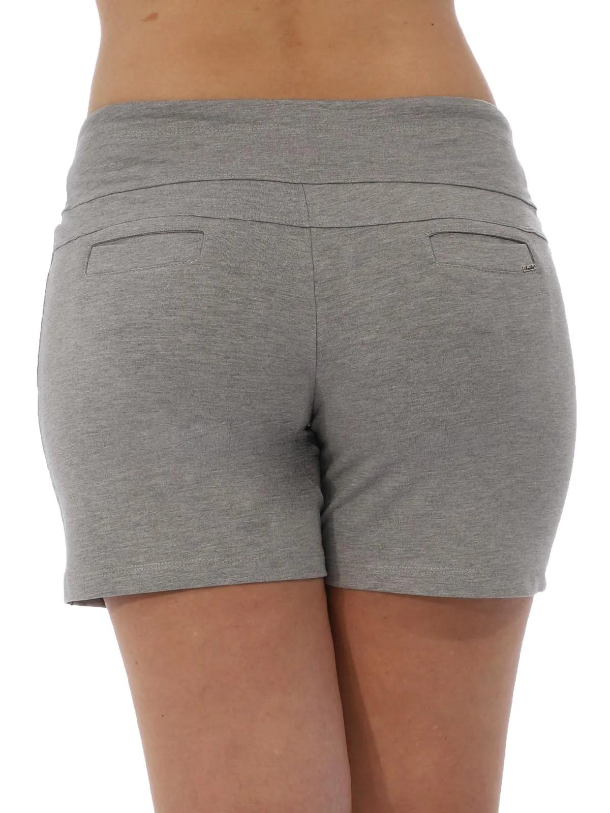 Shorts Feminino Moletinho Liso Com Lycra Confortável Mescla Claro