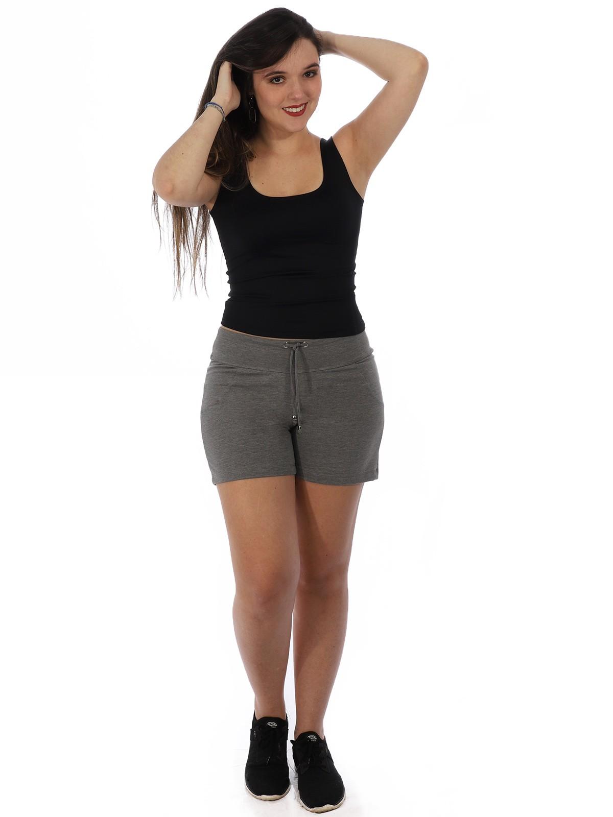 Shorts Feminino Moletinho Liso Com Lycra Confortável Mescla Escuro