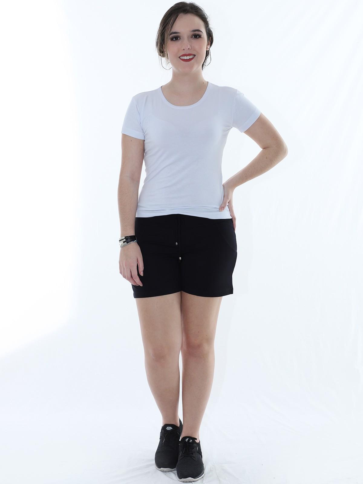 Shorts Feminino Moletinho Liso Com Lycra Confortável Preto