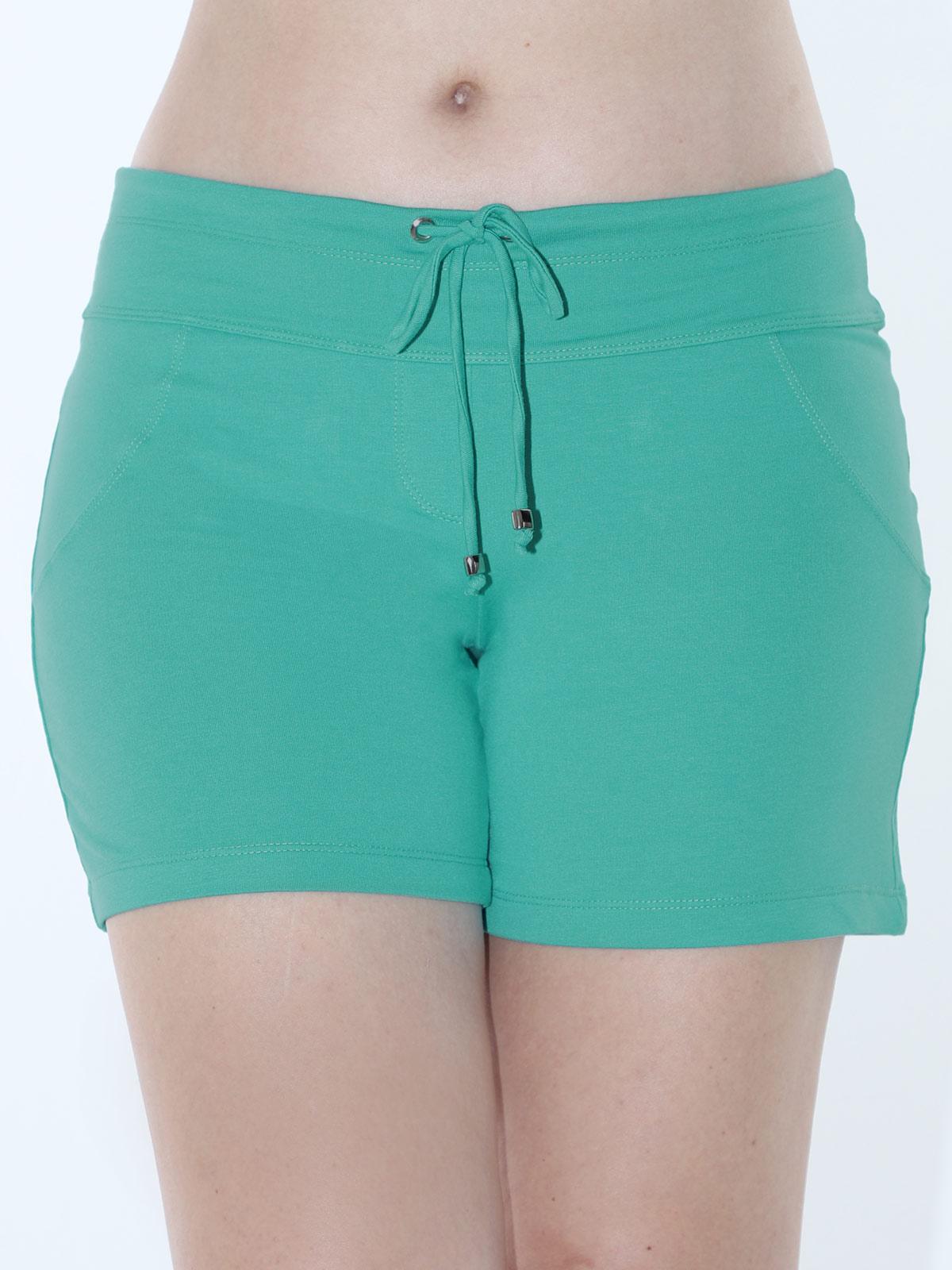 Shorts Feminino Moletinho Liso Com Lycra Confortável Verde