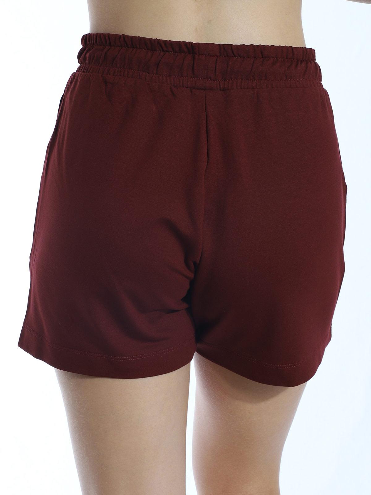 Shorts Feminino Moletom Visco Confortável Soltinho Bordo