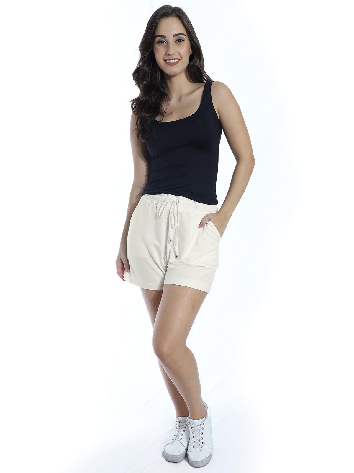 Shorts Feminino Moletom Visco Confortável Soltinho Off White