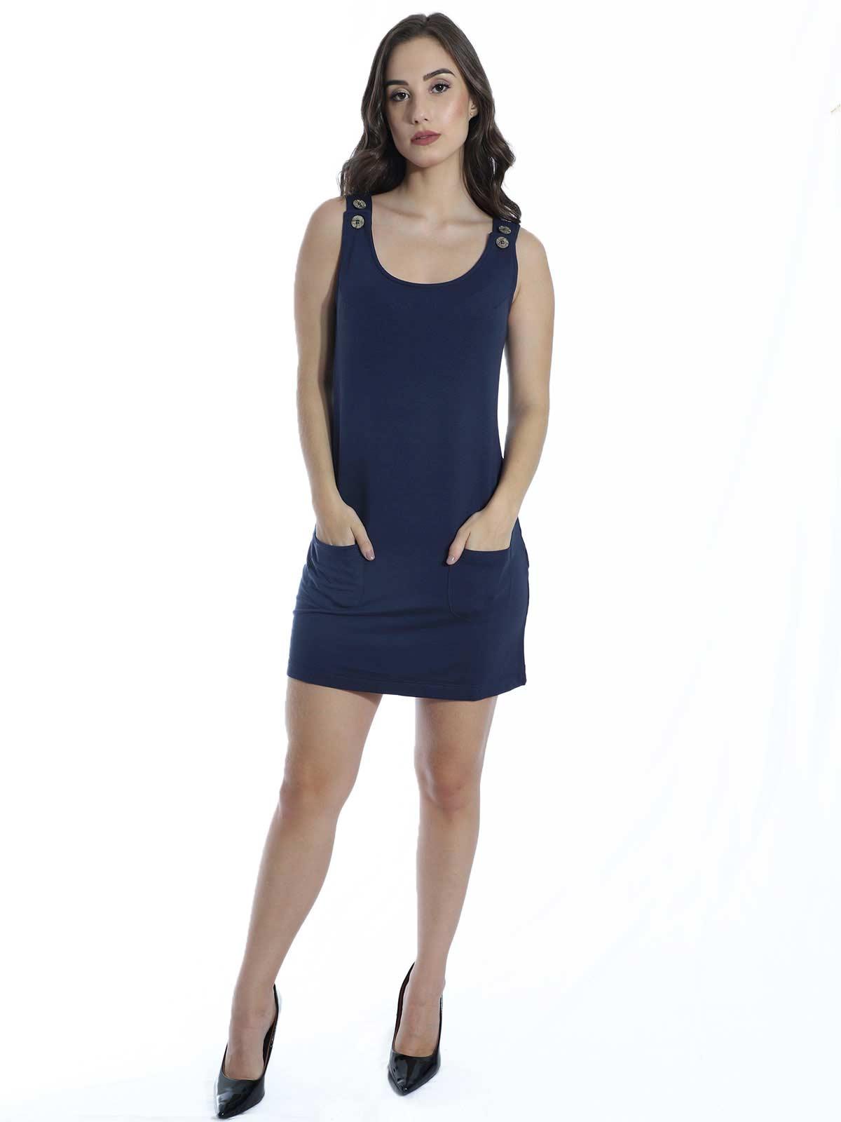 Vestido Anistia Curto com Bolso e Botões Azul Marinho