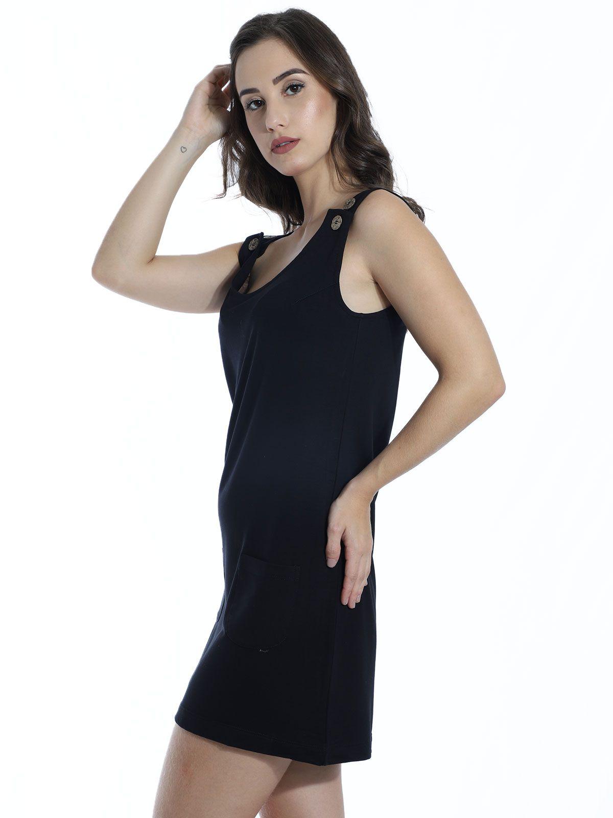 Vestido Anistia Curto com Bolso e Botões Preto