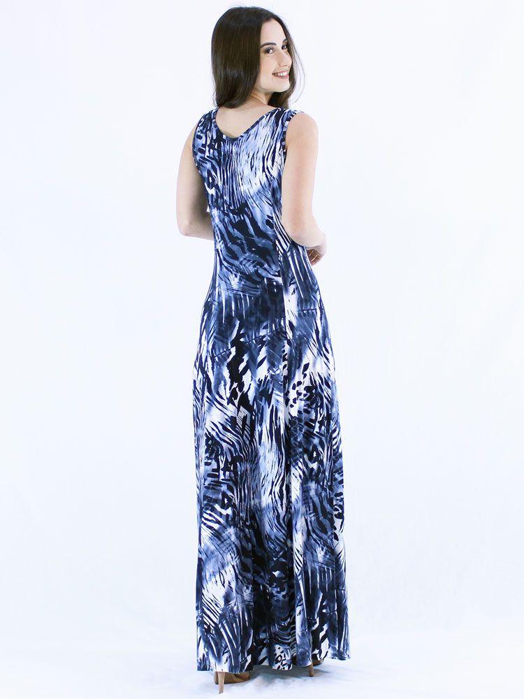 Vestido Anistia Longo Estampado Azul