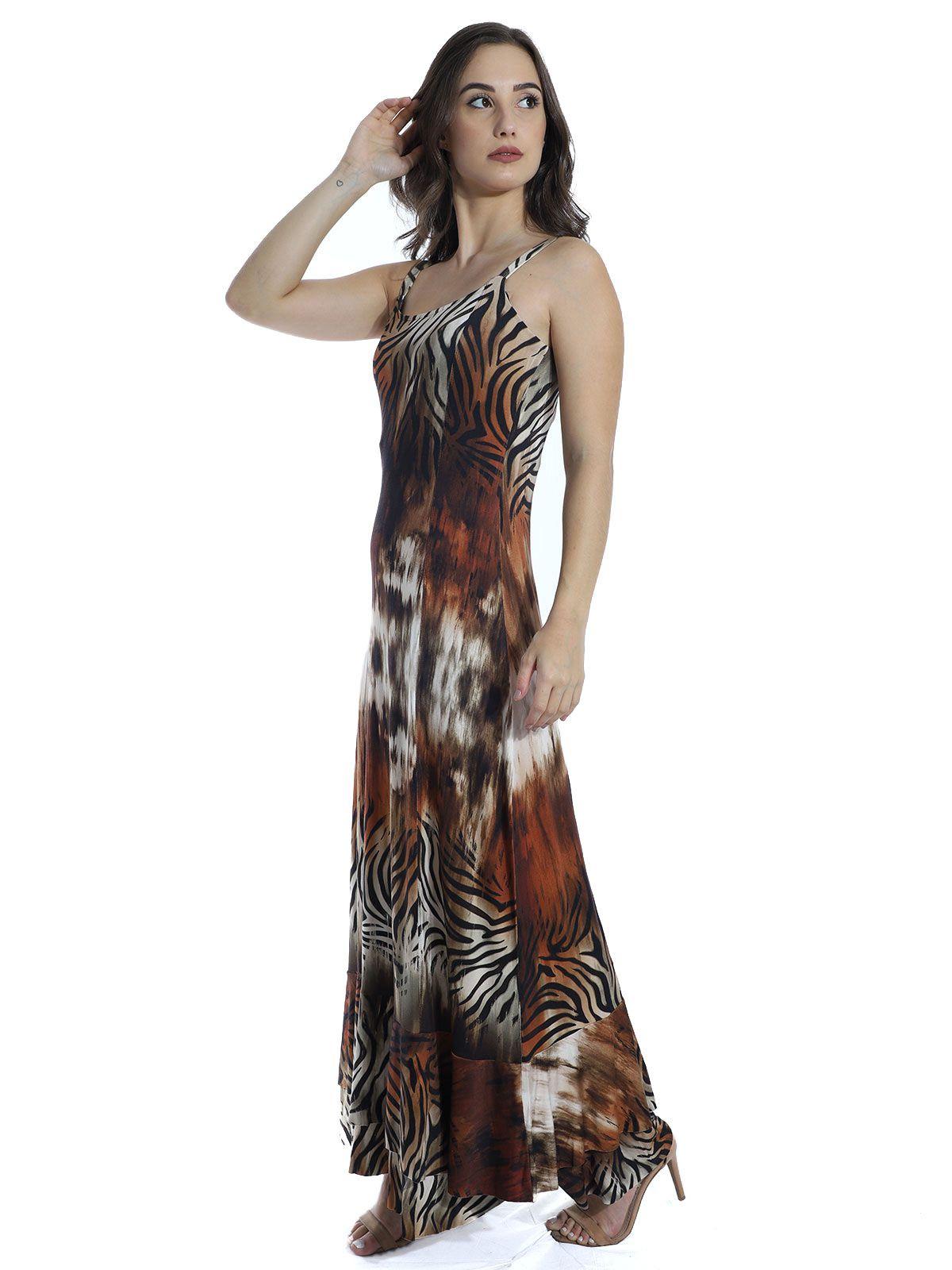 Vestido Anistia Longo Estampado Babado na Barra Marrom