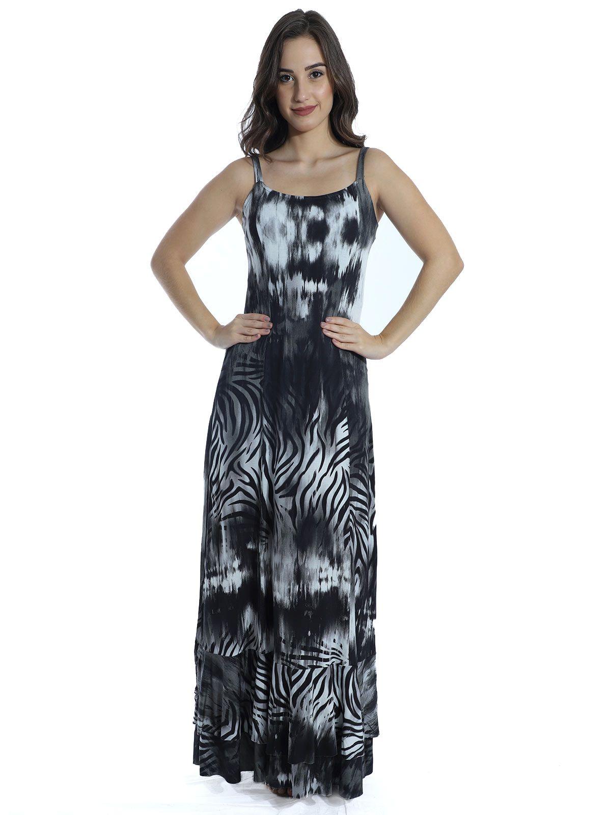Vestido Anistia Longo Estampado Babado na Barra Preto