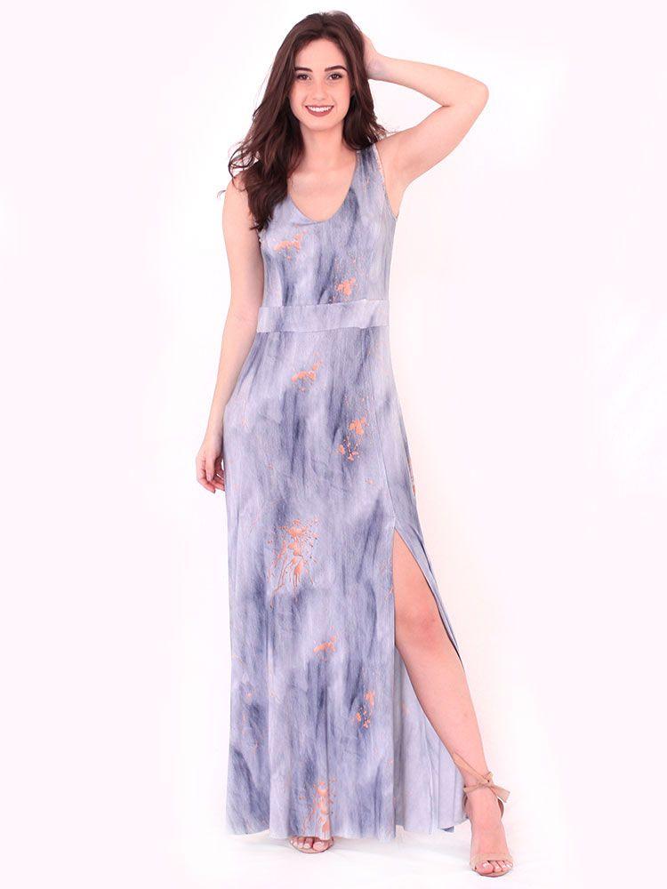 Vestido Anistia Longo Estampado Fenda na Perna Azul