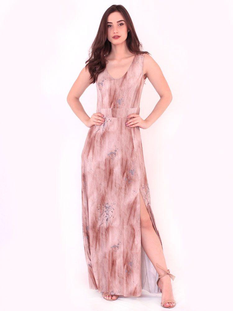 Vestido Anistia Longo Estampado Fenda na Perna Marrom