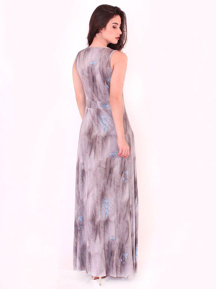 Vestido Anistia Longo Estampado Fenda na Perna Preto