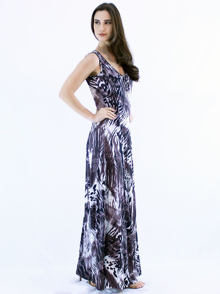 Vestido Anistia Longo Estampado Preto