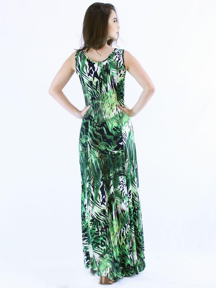 Vestido Anistia Longo Estampado Verde