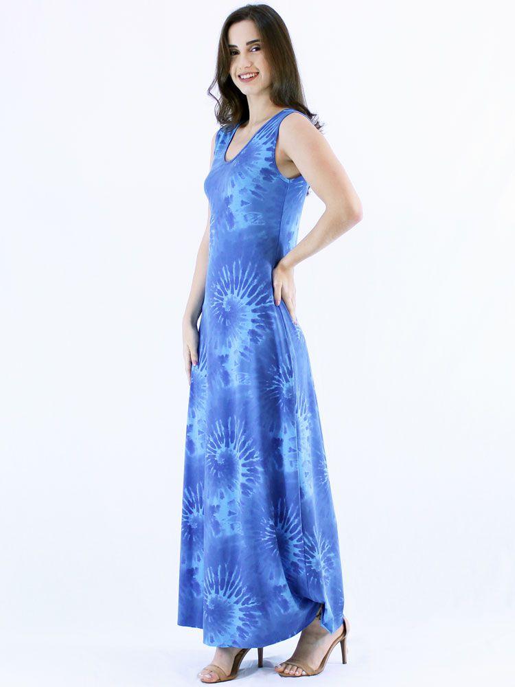Vestido Anistia Longo Tie Dye Azul