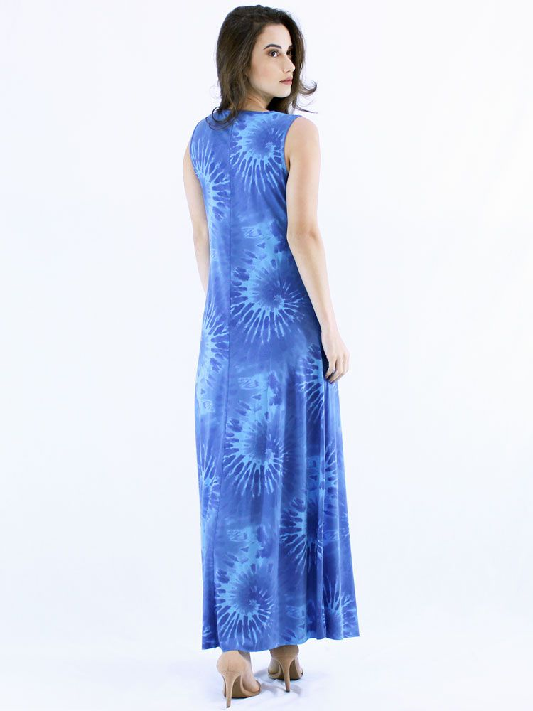 Vestido Longo Regata Tie Dye Visco Confortável Macio Azul