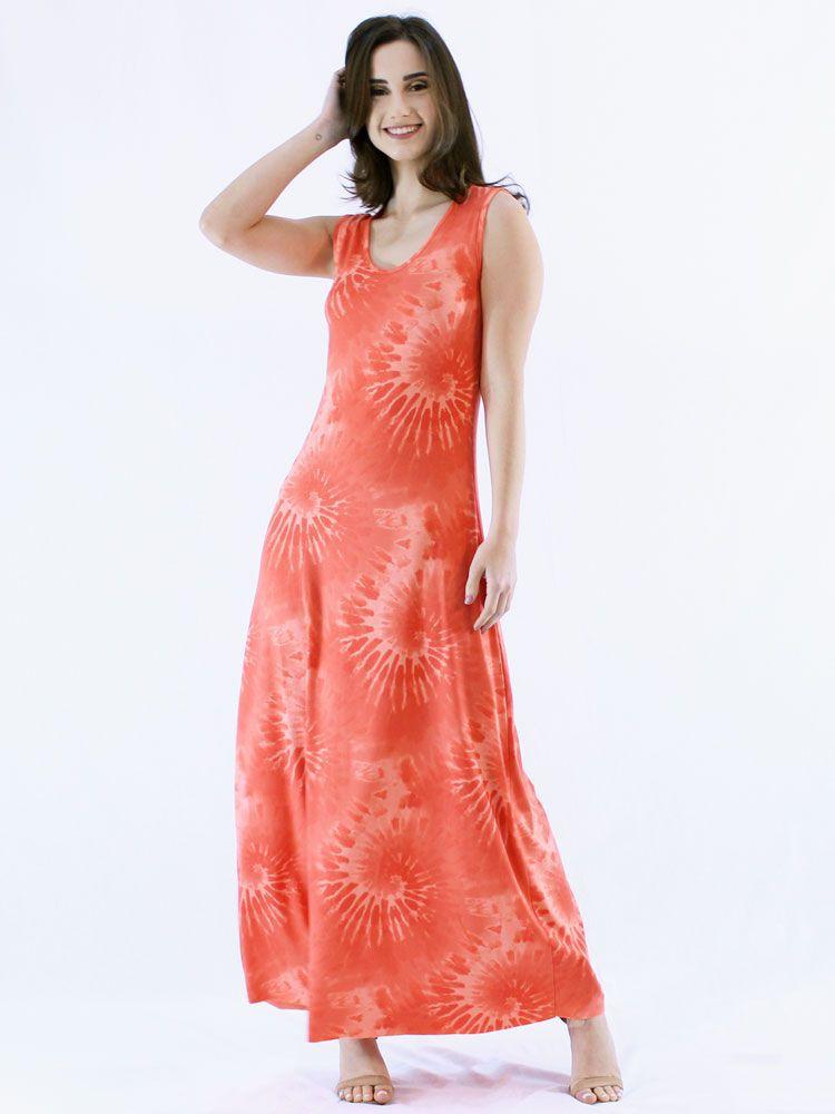 Vestido Longo Regata Tie Dye Visco Confortável Macio Laranja