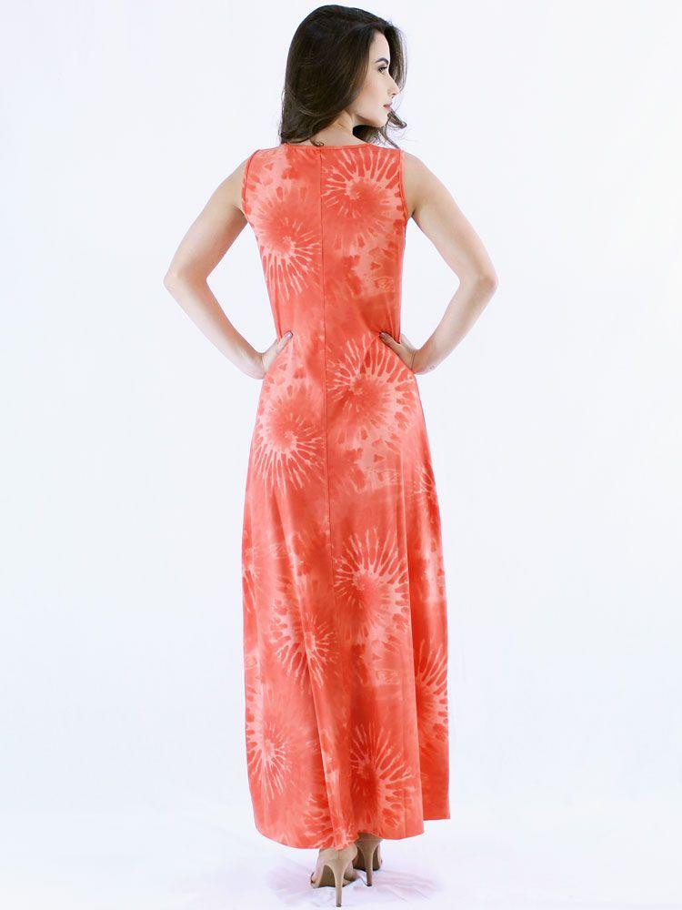 Vestido Anistia Longo Tie Dye Laranja