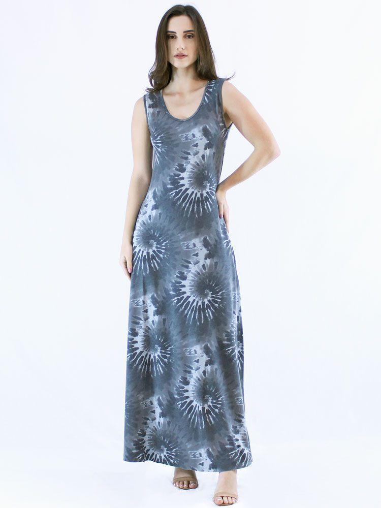 Vestido Longo Regata Tie Dye Visco Confortável Macio Preto