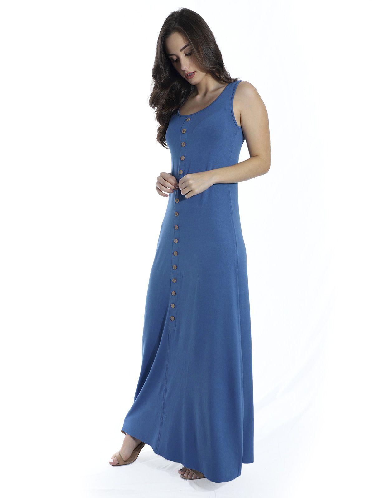 Vestido Anistia Longo Viscolycra com Botões Azul