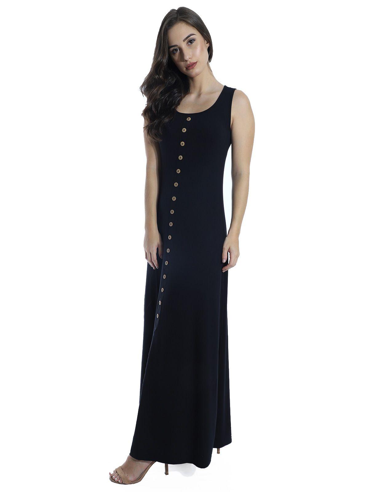 Vestido Anistia Longo Viscolycra com Botões Preto