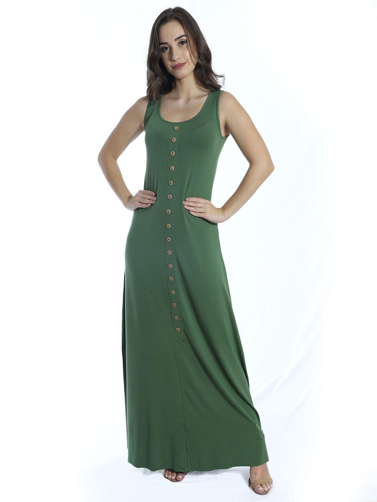 Vestido Anistia Longo Viscolycra com Botões Verde