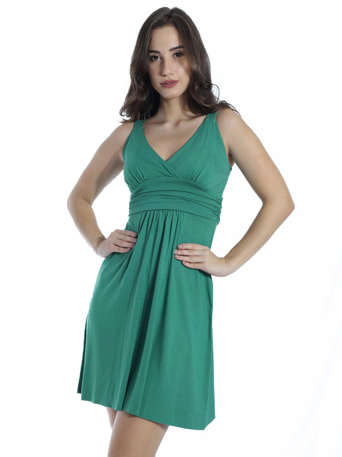 Vestido Curto de Viscolycra Drapeado Anistia Verde