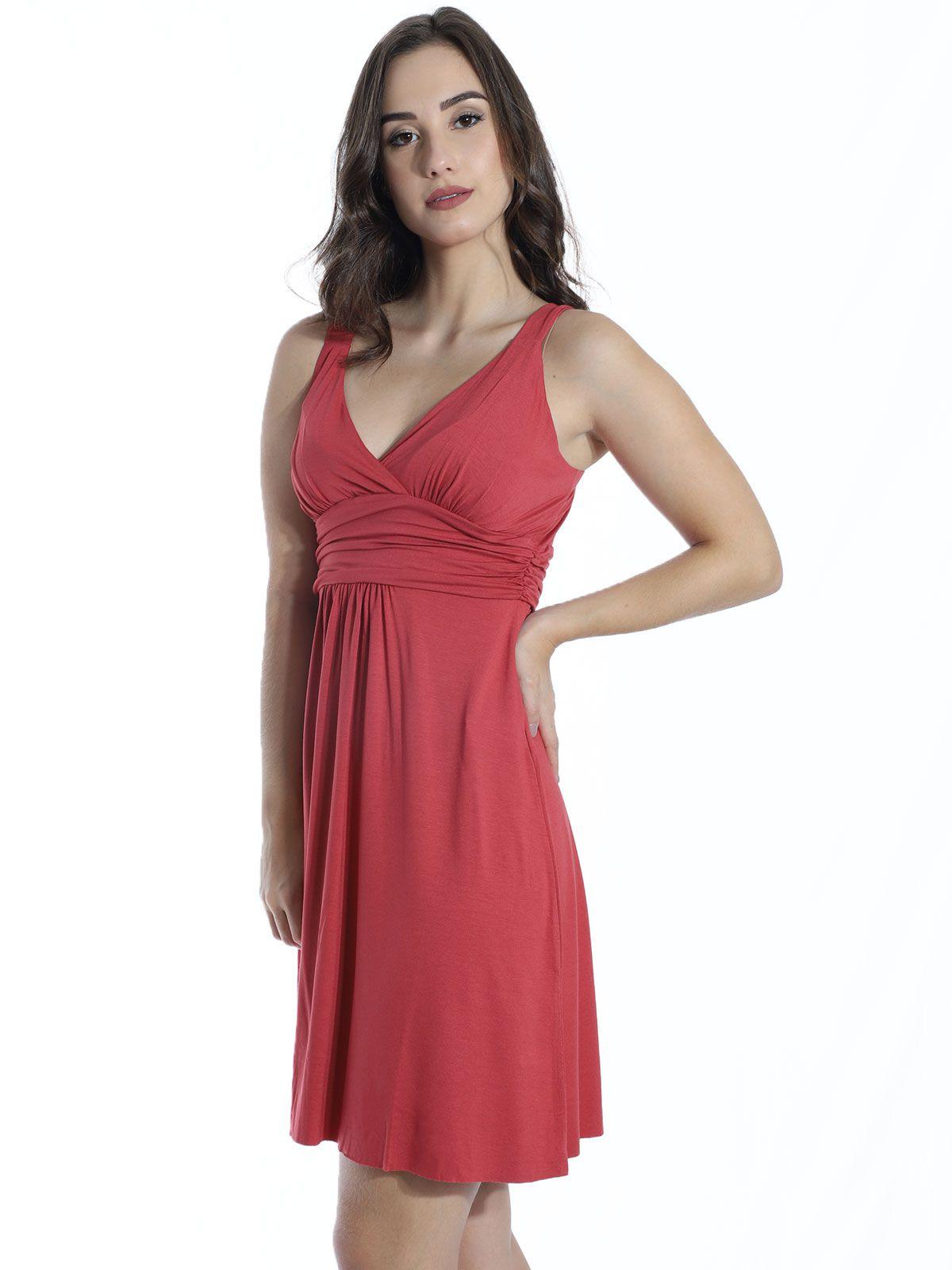 Vestido Curto de Viscolycra Drapeado Anistia Vermelho